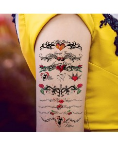 Heart With Rose Vine Wings Design Temporary Waterproof Tattoo For Men and Women V_738