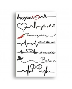 Voorkoms AA-0211 Heart beat design body V-211a temporary tattoo Size 11 cm x 6 cm