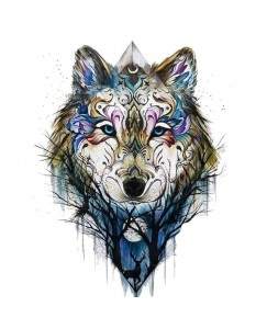 Voorkoms A-1 Temporary Tattoo Waterproof For Girls Men Women Beautiful & Popular Water Transfer  3D Dog Wolf Design Tattoo Size 10.5 CM x 6CM - 1PC