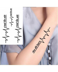Voorkoms AB-110 Temporary Body Tattoo Waterproof For Girls Men Women Beautiful & Popular Water Transfer  3D  c'est la vie like teen guys  Tattoo Size 10.5 CM x 6CM - 1PC