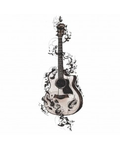 Voorkoms AC-116 Temporary Body Tattoo V-116 Waterproof For Girls Men Women Beautiful & Popular Water Transfer  3D Guitar Lovers Music Body Tattoo Size 10.5 CM x 6CM - 1PC