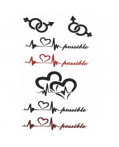 Voorkoms AB-121 Body Temporary Tattoo Heart Beat Possible Tattoo