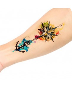 Voorkoms AA-124 Body Temporary Tattoo Waterproof For Girls Men Women Beautiful & Popular Water Transfer 3D Color Swing Star Anchor Size 10.5 CM x 6CM - 1PC