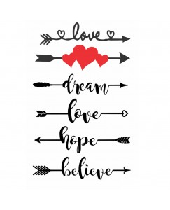 Voorkoms AA-133 Arrow Sign With Heart Love Belive Hope Dream Body Temporary Tattoo