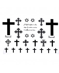 voorkoms AB-138 cross christian sign body temporary tattoo size 11cm x 6cm