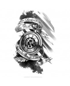 voorkoms AB-150 time watch tattoo respect the past create the future body temporary tattoo size 11cm x 6 cm