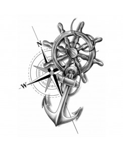 voorkoms AB-152 wheel anchor body temporary tattoo size 11cm x 6 cm