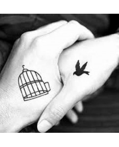 voorkoms birds get freedom from prison body (V-155) temporary tattoo size 11cm x 6 cm