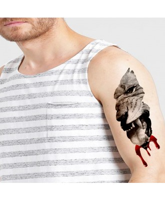 Lion with blood body V-159 temporary tattoo size 11cm x 6 cm