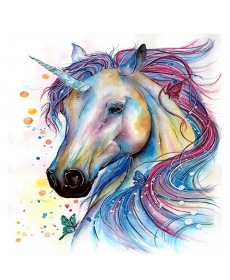 Voorkoms V-16 Temporary Tattoo Waterproof For Girls Men Women Beautiful & Popular Water Transfer  3D Unicorn Tattoo Size 10.5 CM x 6CM - 1PC