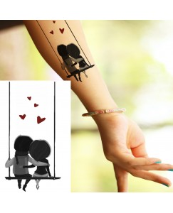 voorkoms AB-177 cute love couple on swing body v-177 temporary tattoo size 11cm x 6 cm