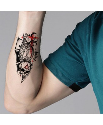 Owl with Skull Tattoo Waterproof Male and Female Temporary Body Tattoo V_193