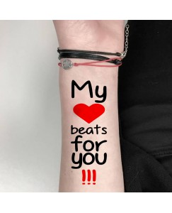 My Love Beats For You Tattoo Waterproof Men and Women Temporary Body Tattoo V_198