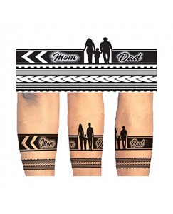 Voorkoms Mom Dad Hand Band & Tribal Temporary Tattoo Design Round Shape Waterproof For Boy & Girls