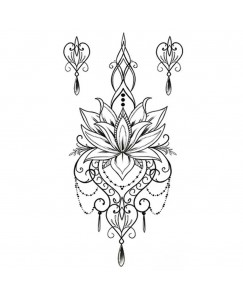 voorkoms AA-203 Lotus flower design body V-203 temporary tattoo Size 11 cm x 6 cm