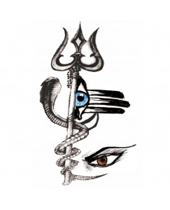 voorkoms AA -0205 Lord shiva trishul eye body temporary tattoo Size 11 cm x 6 cm