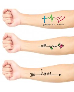 voorkoms AB-206 Heart beat faith love arrow body temporary tattoo Size 11 cm x 6 cm