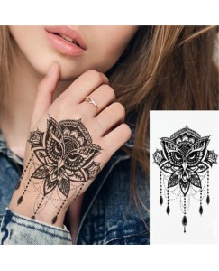 voorkoms AA-226 Lotus owl body V-226 Temporary tattoo Size 11 cm x 6 cm