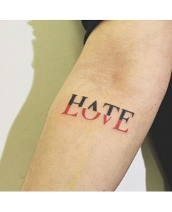 voorkoms Hate Love If not now then when V-236 Trust no one Tattoo Size 11 cm x 6 cm