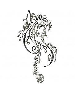 voorkoms V-239 Virgo zodiac sign temporary tattoo Size 11 cm x 6 cm