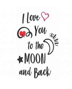 voorkoms V-243  I Love You To The Moon And Back V -243  Tattoo Size 11 cm x 6 cm
