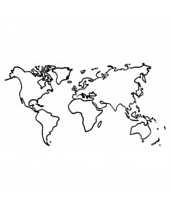 voorkoms World map V-254 body temporary  tattoo Size 11 cm x 6 cm
