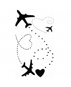 voorkoms Flying Airplane Love Heart body V-273 temporary tattoo Size 11 cm x 6 cm