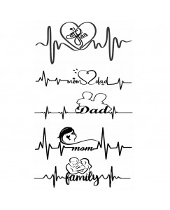 voorkoms AA-0281 Mom Dad and Family  Temporary Tattoo Waterproof For Girls Men Women