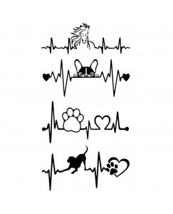 voorkoms Animals Heart Beat Foot Print V-292 Temporary Tattoo Waterproof For Girls Men Women