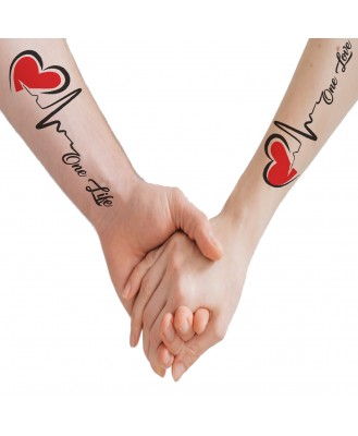 voorkoms Love Heart Line Body Temporary V-297 Tattoo Waterproof For Girls Men Women