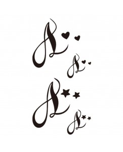 voorkoms name alphabet A Letter V-301 Temporary Body Tattoo Size 11x6 cm