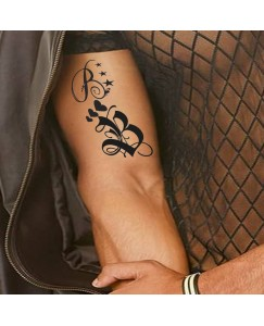 voorkoms Name B Letter Two Design Body V-302 Temporary Tattoo Size 11x6 cm