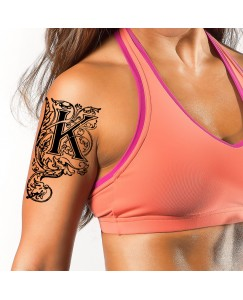 Name K Letter Body V-309 Temporary Tattoo Waterproof For Girls Men Women Size 11x6 cm