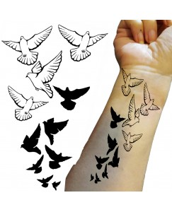 Voorkoms AA-322 Flying Birds Body Temporary Tattoo Size 11x6 cm