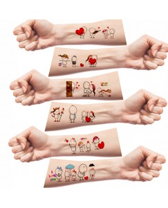 Voorkoms AA-324 Cartoon Love Emotion Body Temporary Tattoo Size 11x6 cm