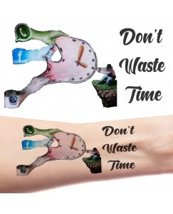 Voorkoms AA-325 Social media message don't time waste body temporary tattoo Size 11x6 cm