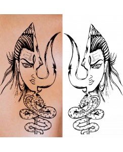 Voorkoms AA-327 Lord shiva trishul Body Temporary tattoo Size 11x6 cm
