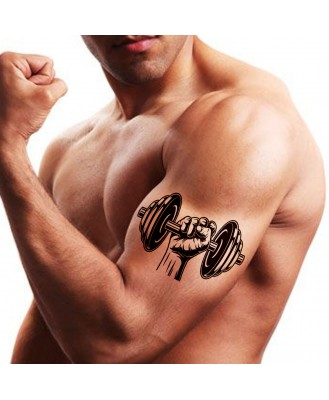 Voorkoms AA-330 Gym Dumbbell Body Temporary tattoo Size 11x6 cm