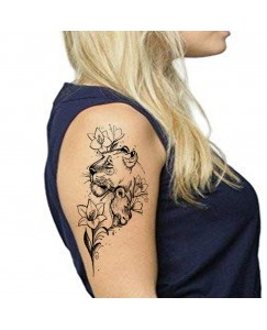 Voorkoms V_411 Tiger and Flower Men and Women Waterproof Temporary Body Tattoo