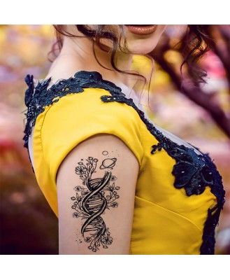 Voorkoms V_413 DNA Drawing with Flowers Men and Women Waterproof Temporary Body Tattoo