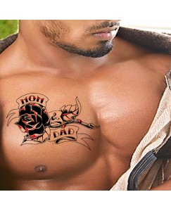 Voorkoms Flower with Mom Dad Men and Women Waterproof Temporary Body Tattoo V_481