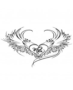Voorkoms Heart With Wing Tattoo Waterproof Men and Women Temporary Body Tattoo