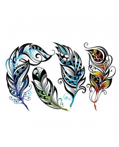 Voorkoms AB-66 Feathers 4 Design Temporary Body V-66 Tattoo Waterproof For Girls Boys Men Women Size 10.5 CM x 6CM - 1PC
