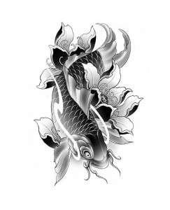 Voorkoms Black & White Fish Body (V-73) Temporary Tattoo Waterproof For Girls Boys Men Women Beautiful & Popular Water Transfer Size 10.5 CM x 6CM - 1PC
