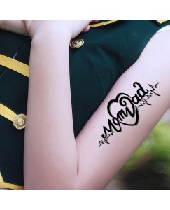 Mom Heart with Dad Waterproof Men and Women Temporary Body Tattoo V_761
