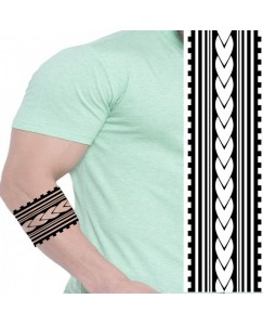 Voorkoms Mom Dad Hand Band & Tribal Temporary tattoo Design Round Shape Waterproof for Boy & Girls size 31 cm x 7 cm