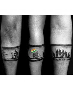 voorkoms Indian Army Hand Band Waterproof Temporary Tattoo For Boys & Girls Special on independence day