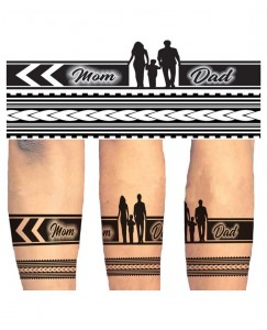 Voorkoms Mom Dad Hand Tribal Two Design Combo for Men and Women Temporary Tattoo V_HB_2