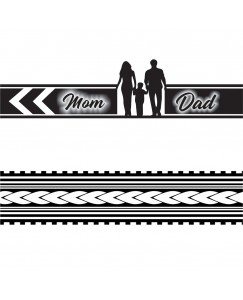Voorkoms AA-(Hand Band 02)  Mom Dad Hand Tribal  Temporary Tattoo Two Design In Combo